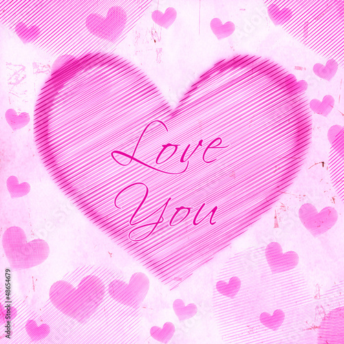 love you in striped heart on pink old paper
