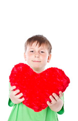 boy holding a heart on a white background