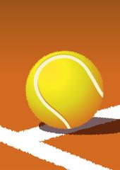 Tennismatch auf rotem Sandplatz
