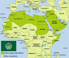 Arab League map and surroundings