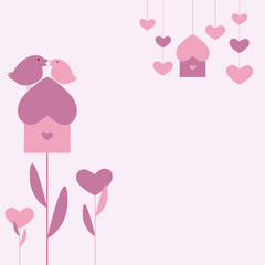 Background with two birds and hearts