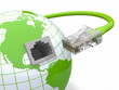 Global communication. Earth and cable, rj45.
