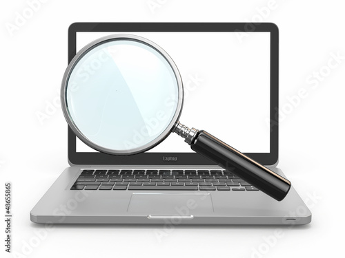 Search. Laptop and loupe