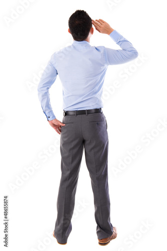 Rear view full body Asian businessman