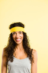funny woman portrait real people high definition yellow backgrou