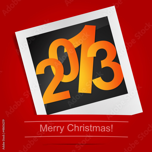 Merry Christmas photo frame on the red background. Vector illust