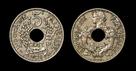 Antique coin of 5 centimes