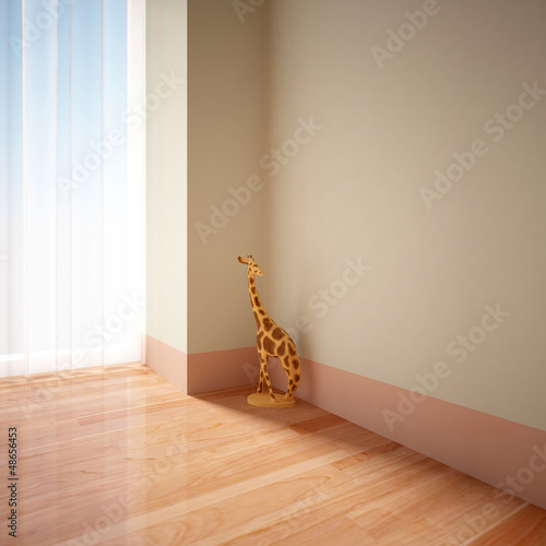 empty interior with statuette of giraffe