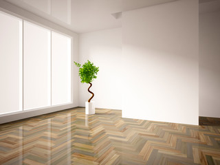 white empty interior with a green tree