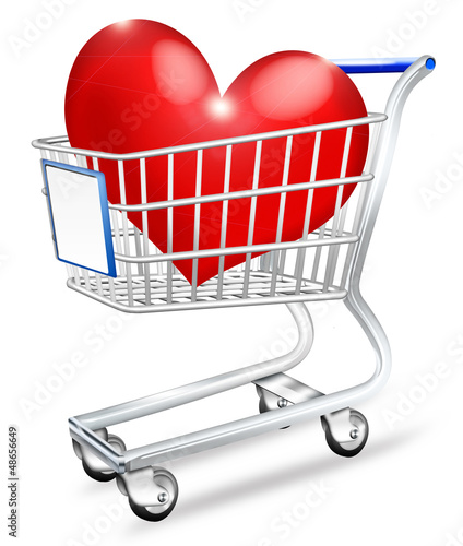 Einkaufswagen mit roten Herz - Partnervermittlung