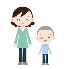 仲の良い母と息子 ブルーの服装