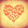 striped hearts make big heart on beige old paper
