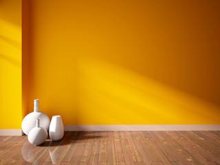 orange empty interior with white vases