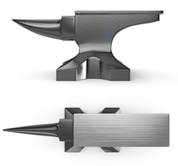 Black metal anvil, two views