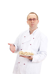 Baker presenting stollen