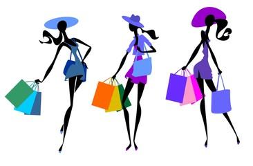 Три девушки в шляпах с покупками