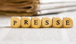Letter Dices Concept: Presse (German)