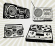 Some Hand Drawn Retro Tape Recorders
