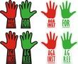 "две руки, голосующие ""за"" и ""против"""