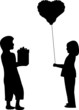 Boy and girl for Valentine s Day, 14th February silhouette