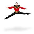 young dancer man wearing a folk russian costume jumping