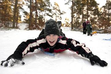 Snowgliding on belly