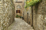 narrow  paved small street  in italian village Montefioralle