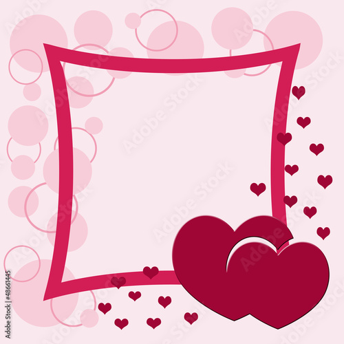 Valentine frame with heart shape and circles decoration