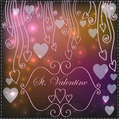 Background with hearts and reflections in a romantic style
