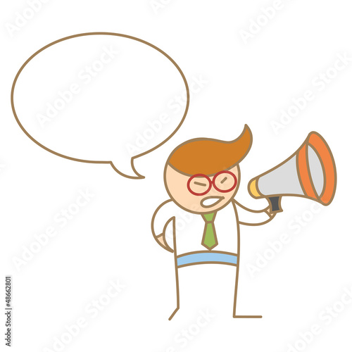 cartoon character of man speaking on megaphone