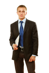 A businessman with a folder standing on white background