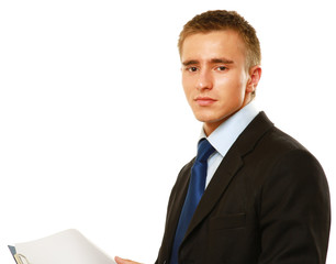 A businessman with a folder standing
