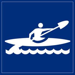 Schild blau - Kajak
