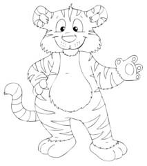 Tiger, freundlich, winken