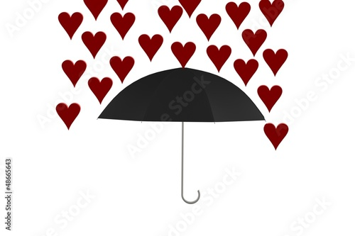 Hearts raining on umbrella