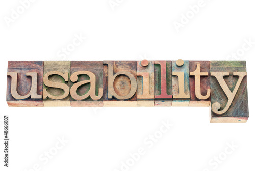 usability word in wood type