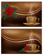 Two love banners with coffee, vector illustration