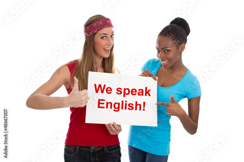 We speak English - Zwei Frauen isoliert