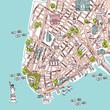 Seamless new york manhattan city travel map illustration