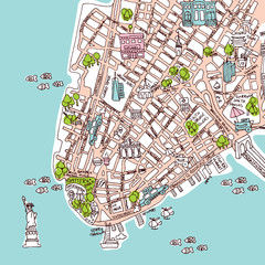 Seamless new york manhattan city travel map illustration