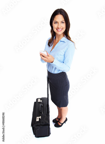 Woman with a suitcase.