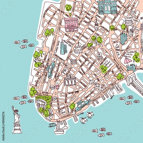 Bezszwowa nowa York Manhattan miasta podróży mapy ilustracja