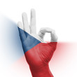 hand OK sign with Czechian flag