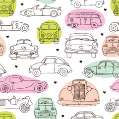 Seamless vintage oldtimer car background pattern in vector