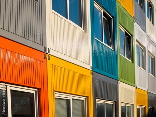 multicolored cargo containers