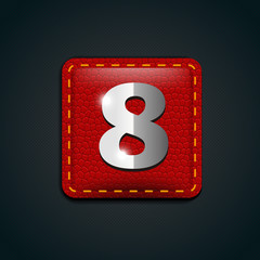 Number eight steel on leather button