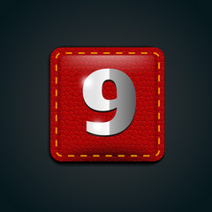 Number nine steel on leather button
