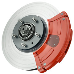 Car disc brake, 3D render