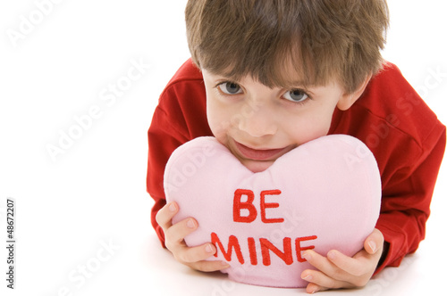 Cute Boy with Be Mine Valentines Day Pillow