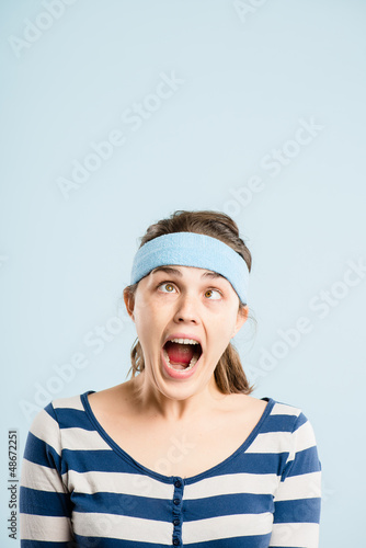 funny woman portrait real people high definition blue background